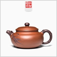 245ml Yixing original mine famous handmade bamboo antique tea pot Kung Fu tea kettle gift set tea table decoration custom teapot