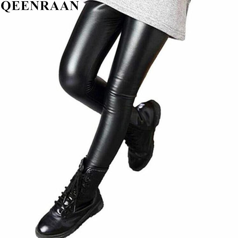 2018 New Spring Autumn Kids Girl Legging Baby Girls Boys Skinny Pencil Pants Faux PU Leather Childrens Leggings Black Wine