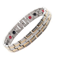 Men Woman Healing Magnetic Stainless Steel Bracelet 4 Health Care Elements Magnetic FIR Germanium Ion Gold