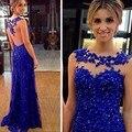 Azul Royal Luxury Longo de Uma Linha Vestido de Noite com Cristais Beading Vestidos de Noite Desgaste Robe De Soiree Longue Custom Made