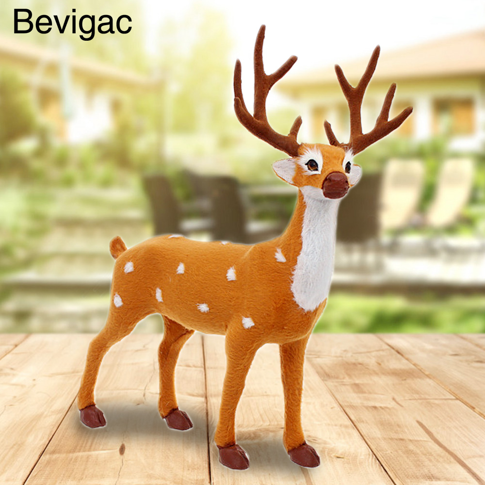 Bevigac Christmas Reindeeer Standing Fawn Ornament Deer Crafts Xmas Gift Toy Home Decorations 25cm ...