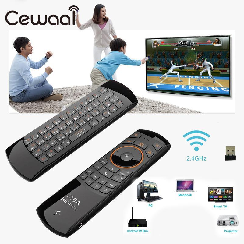 Cewaal 2.4G i25 Mini Wireless Russian Keyboard Air Mouse Remote For Android TV Box HTPC rapoo 8300 2 4ghz htpc wireless keyboard