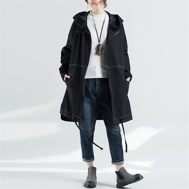 2019 Autumn Winter New Fashion Mid-long   Trench   Coat Women Slim Windbreaker Female Red Loose Hooded   Trench   Coats Outerwear R325