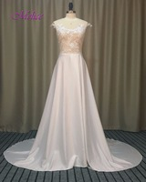 Dreagel Romantic Scoop Neck Appliques Bohemian Wedding Dress 2017 Fashion Chiffon Front Split Beach Wedding Gown