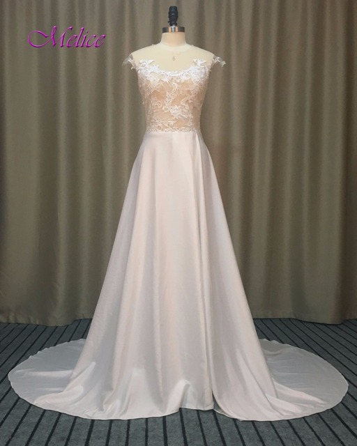 Romantic Bohemian Wedding Dresses.Us 176 29 18 Off Melice Romantic Scoop Neck Appliques Bohemian Wedding Dress 2019 Fashion Chiffon Front Split Beach Wedding Gown Robe De Mariage In