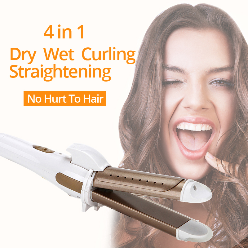 Hair Straightening Curling Iron Device 2 In 1 Curler Straightener 26mm Curly Hair Style Wet Dry Ceramic Material Styling Maching titanium plates hair straightener lcd display straightening iron mch fast heating curling iron flat iron salon styling tools