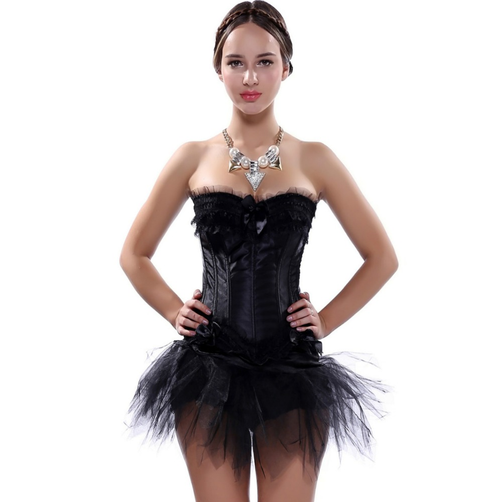 Women Multi-layer Lace trim Corset Dress Plus Size Sexy Waist Trainer Bustier Corset With tutu Skirt New 2018