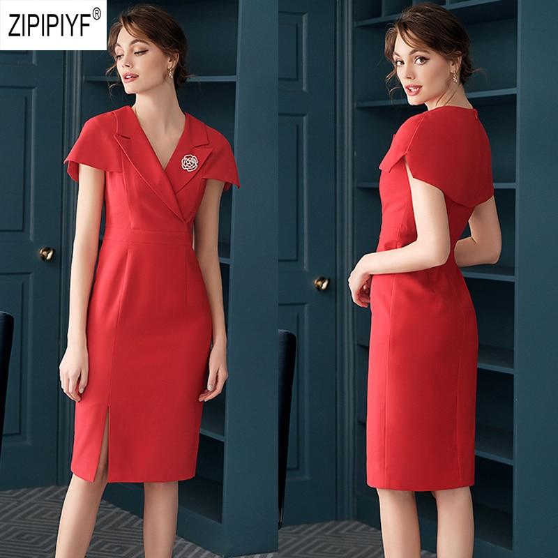 Kadın Giyim'ten Elbiseler'de Zarif Moda Kadın 2019 Yaz Elbiseler Turn Down Boyun Kısa Kollu Kırmızı Diz Boyu Elbiseler Rahat Ofis kadın elbiseleri Z1391'da  Grup 1