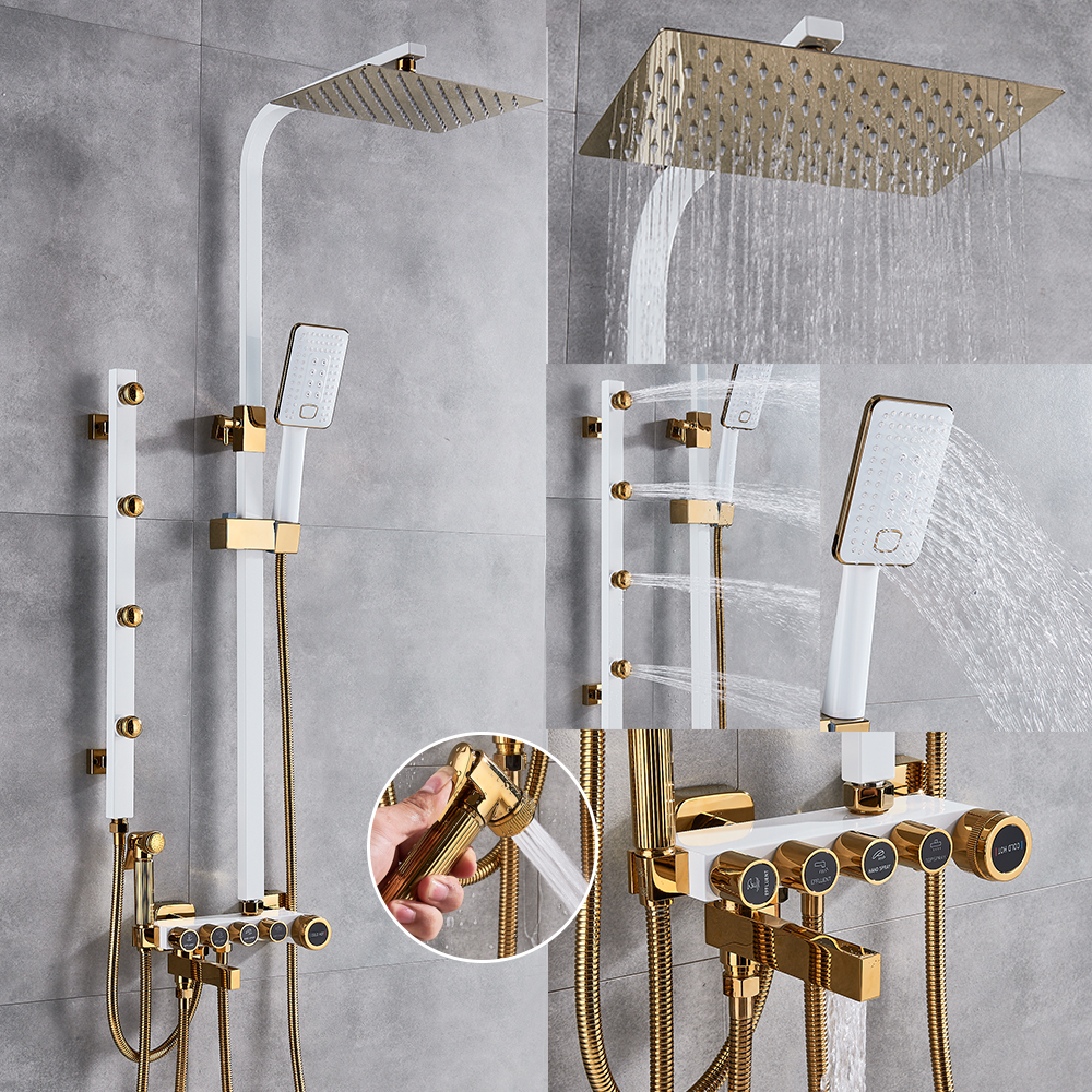 Luxury White Gold Shower Faucet Set 5 Function Switch Wall Mount Rain Shower Head With Hand Shower Bathtub Spout Bidet TapShower Faucets   -