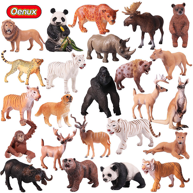 Oenux Original Wild Animals Zoo Lions Tigers Dog Zebra Simulation Model Farm Animal Figurines Action Figure Toy For Kids Gift mr froger carcharodon megalodon model giant tooth shark sphyrna aquatic creatures wild animals zoo modeling plastic sea lift toy