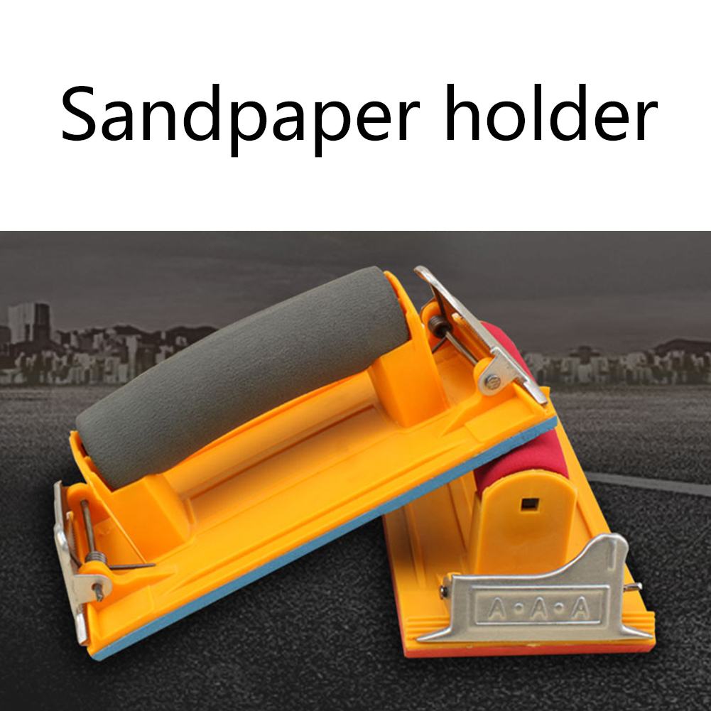 Sandpaper Holder With Sponge Handle Clamp Hand Sander Sand Board Woodworking Wood Carving Wall Surface Polishing Sponge