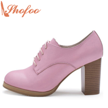 Shofoo Women Sweet Pink Grain Leather Chunky High Heels Round Toe Dress&Office&Career&Party Lace-up Shoes ,Large Size 4-16.