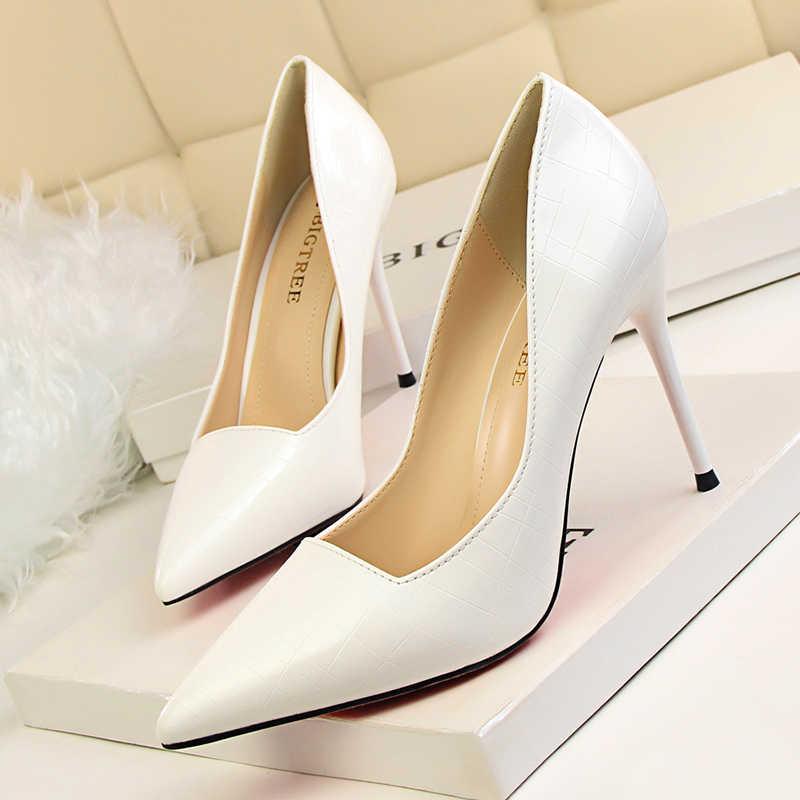 BIGTREE stiletto cao gót talon femme bơm phụ nữ giày retro nông sexy zapatos de mujer verano 2019 toe nhọn salto alto