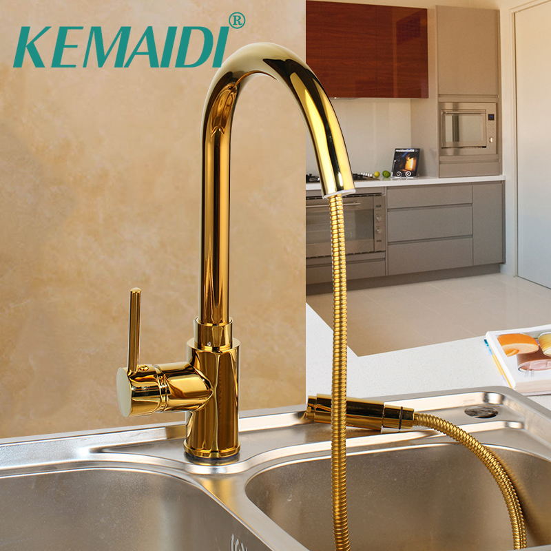 KEMAIDI Pull Out Kitchen Faucet Gold Mixer Deck Mounted Faucet Mixer Pull Out Kitchen Mixer Tap Solid Brass 360 R0tation