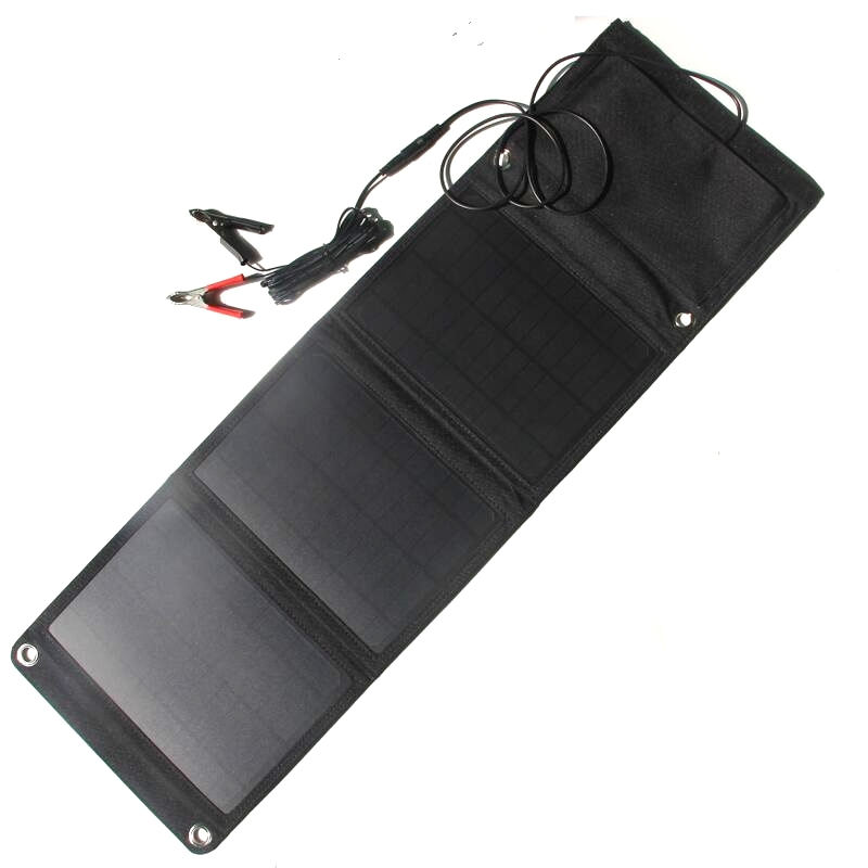 High Quality 5V/18V 21W Solar Panel Charger Dual USB+DC Output Foldable Portable Solar Charger For iphone Power Bank 12V Battery allpowers 18v 21w usb solar power bank camping travel folding foldable outdoor usb solar panel charger for mobile phone laptop
