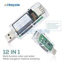 12 in 1 USB Tester Digital DC Voltage Current Meter Voltmeter Ammeter Detector