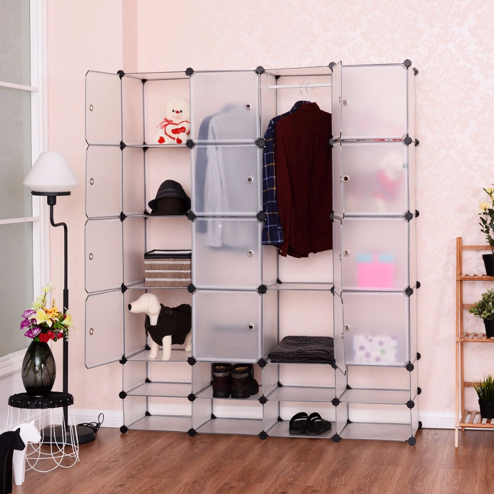 Goplus DIY 16+8 Cube Portable Clothes Wardrobe 1 Hook Bedroom Storage Cabinet Shoes Clothes Closet Organizer with Doors HW54795Goplus DIY 16+8 Cube Portable Clothes Wardrobe 1 Hook Bedroom Storage Cabinet Shoes Clothes Closet Organizer with Doors HW54795
