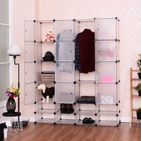 Goplus DIY 16+8 Cube Portable Clothes Wardrobe 1 Hook Bedroom Storage Cabinet Shoes Clothes Closet Organizer with Doors HW54795