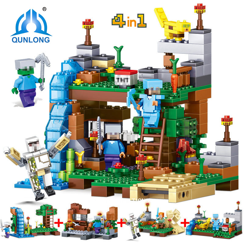 378PCS Minecrafted City Figures Compatible Legoings Building Blocks 4 in 1 DIY Garden Bricks Toys Christmas gifts For Kids 8 in 1 military ship building blocks toys for boys