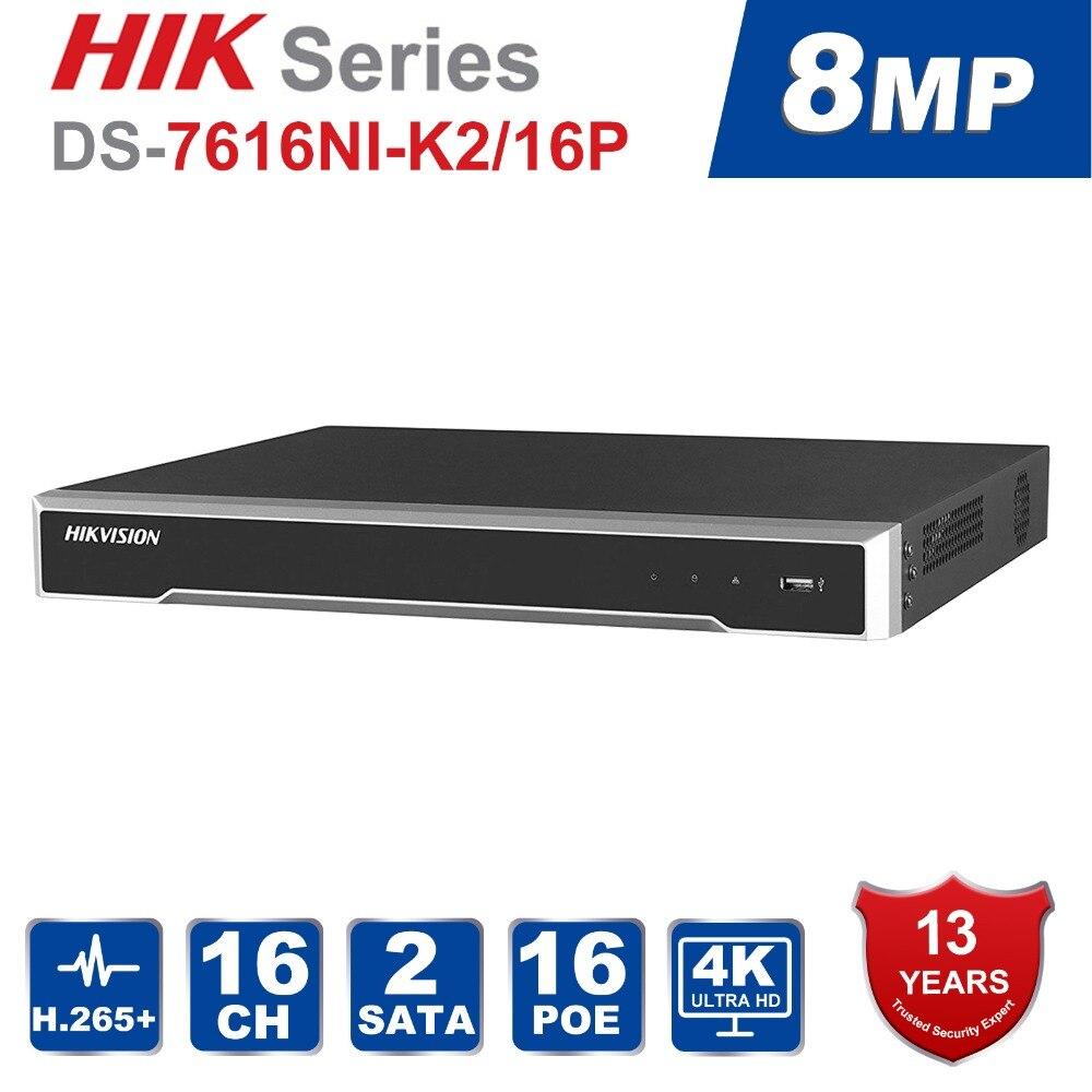 Hik D'origine CH système cctv DS-7608NI-K2/8 P & DS-7616NI-K2/16 Intégré Plug & Play 4 K NVR avec 8/16 2 SATA Interfaces 8 POE Port