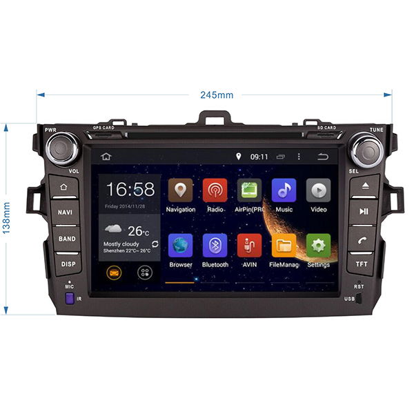 4G Octa Core 8 Core Andoird 6.01 Car DVD for Toyota Corolla 2007 2008 2009 2010 2011 With Wifi Radio GPS Navigation Bluetooth