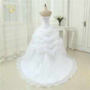 Image 2 - Gorąca sprzedaż New Arrival Vestido De Noiva linia suknia ślubna frezowanie biały suknia ślubna w kolorze kremowym 2020 szata De Mariage Casamento OW3199