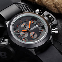 Megir relógio de quartzo casual masculino 3d gravado dial preto silicone relógios masculino à prova dwaterproof água militar esporte relógio para homem mg2002