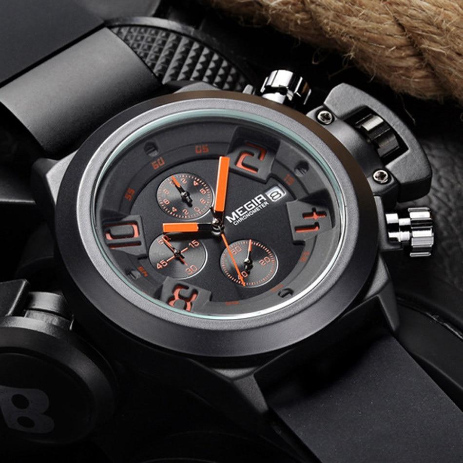 Reloj MEGIR casuales de los hombres reloj de cuarzo 3D grabado Dial negro de silicona Relojes hombres resistente al agua deporte militar reloj para hombre MG2002