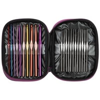 22pcs Multi Coloured Stainless Steel Aluminium Alloy Crochet Hooks Needles Knitting Set Weave Craft With Storage