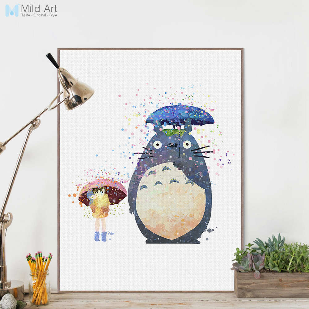 Akvarell Miyazaki Tegneserie Anime Totoro Kawaii Animal Canvas A4 Kunsttrykk Plakat Vegg Bilde Kids Room Decor Painting Custom