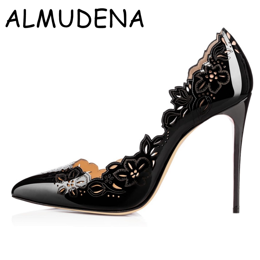 Hollow Out Flower Patent Leather Pointed Toe Shallow Thin High Women Shose Classical Basic Wedding Banquet Pumps
