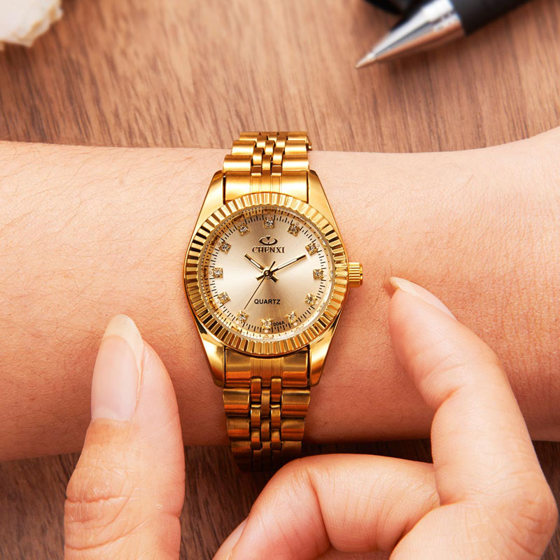 CHENXI Golden Clock relogio feminino Fashion Women Watch reloj moda mujer Quartz Watches Wrist Watch CHENXI bayan saat 4748 women watches elegant fashion ladies watch wristwatch clock small round dial mini women watch relogio feminino saat reloj mujer