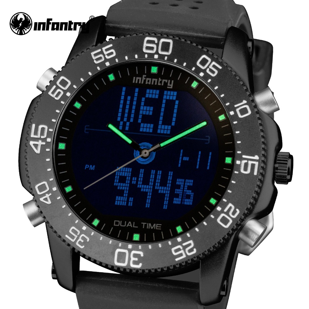 INFANTRY Mens Quartz Watches Waterproof Luxury Brand LED Digital Tactical Watch Relogio Masculino Rubber Strap Marine