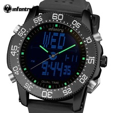 INFANTRY Mens Quartz Watches Waterproof Luxury Brand LED Digital Tactical Watch Relogio Masculino Rubber Strap Marine Wristwatch