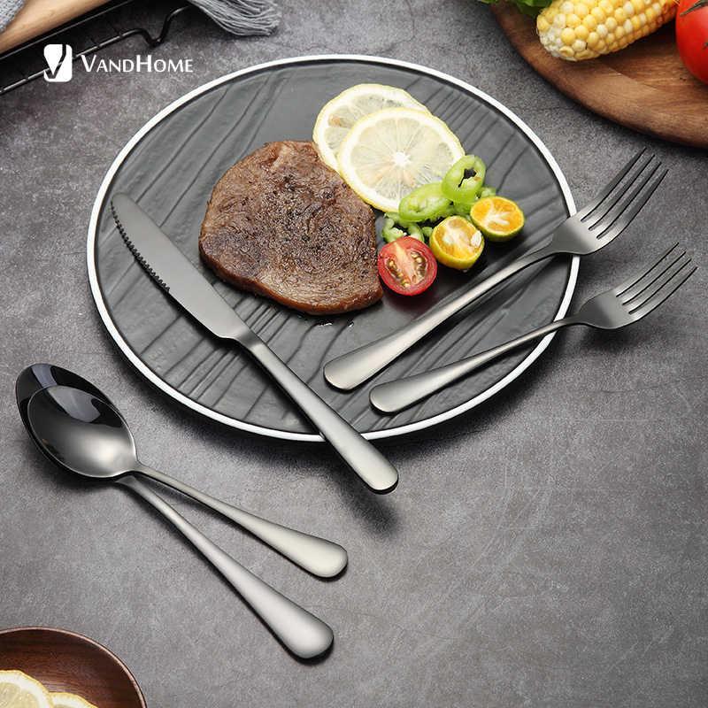 VandHome посуда из нержавеющей стали многоразовый набор столовых приборов нож ложка Вилка кухонный набор обеденной посуды для ресторанная посуда столовые приборы