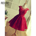 2017 Elegant Red Cocktail Dress Lace Scoop Open Back  O-neck Cap Sleeve AppliquesParty Dress for cocktail party
