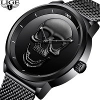 2018LIGE Brand Cool Punk Style Pirate Skeleton Skull Quartz Mens Watches Mesh Steel Sports Black Watch