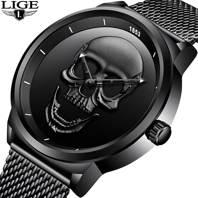 2018LIGE Brand Cool Punk Style Pirate Skeleton Skull Quartz Mens Watches Mesh Steel Sports Black Watch Men Relogio Masculino+Box