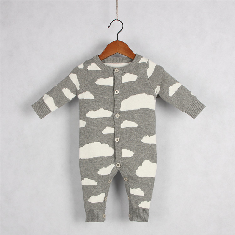 2017 Autumn Winter Cute Romper Knitted Baby Boys Girls Clothes Set Long-sleeve Cartoon Rain Clouds Newborn Baby Romper Jumpsuit cotton baby rompers set newborn clothes baby clothing boys girls cartoon jumpsuits long sleeve overalls coveralls autumn winter