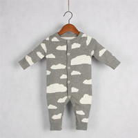 2017 Autumn Winter Cute Romper Knitted Baby Boys Girls Clothes Set Long Sleeve Cartoon Rain Clouds