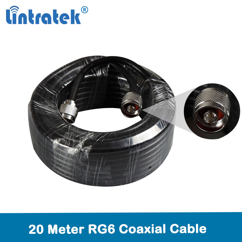 Lintratek 20 Meters Rg6 Coaxial Cable High Quality With N-male Connectors For Cell Phone Signal Repeater And Antenna @7.4
