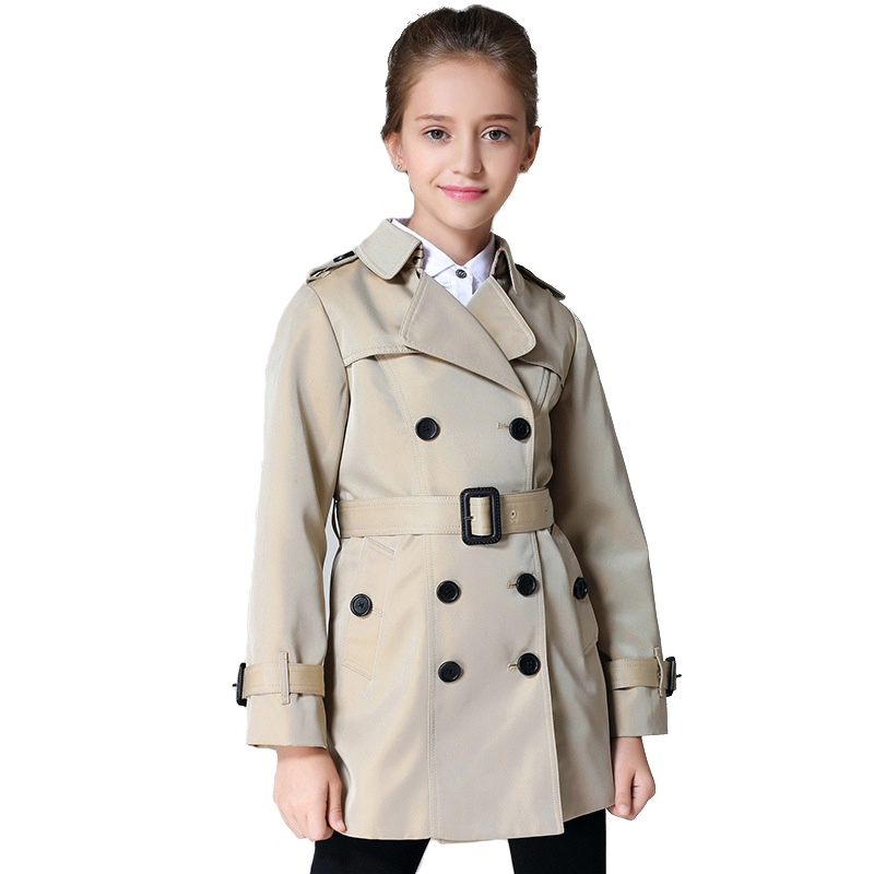Brand Spring Girls Coat Children Khaki Classic Windbreaker Kids Rainproof Windproof fabric fabric Autumn Clothing 6y-12y girls windbreaker autumn winter kids cotton coat children khaki double breasted long clothing england style for 4y 12y