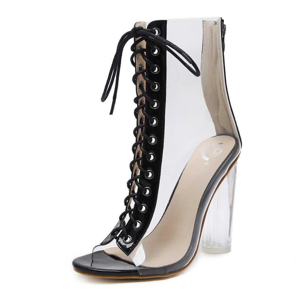 NIUFUNI Artı Boyutu Kadın yarım çizmeler PVC Şeffaf Yüksek Topuklu Yağmur çizmeler kadın ayakkabıları Bahar Sonbahar Peep Toe Bootie Mujer