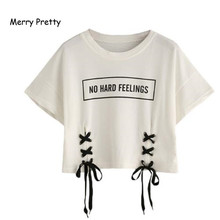 crop tops letter print short sleeve lace up cotton loose sexy t-shirt