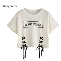 Merry Pretty New Summer Crop Tops Women T Shirt Letter Print Short Sleeve Lace Up Cotton