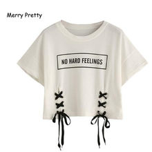 MERRY PRETTY new summer crop tops women t shirt letter print short sleeve lace up cotton loose sexy white t-shirt dance tee tops(China)