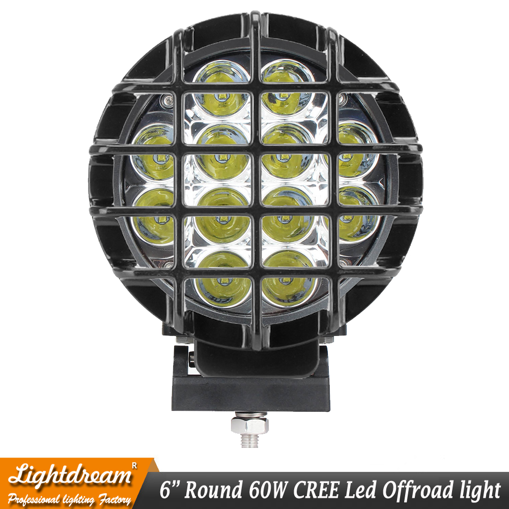 New 6 inch led lights Driving 60W Round Led OffRoad Lights 12V Spotlights HeadLight 4x4 Truck+ Protect Cover 12Leds x1pc-in Light Bar/Work Light from Automobiles & Motorcycles    2