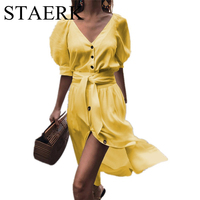 STAERK beach dresses Summer XXXL dress women solid elastic sexy Long skirt vestidos cotton beachwear mid waist