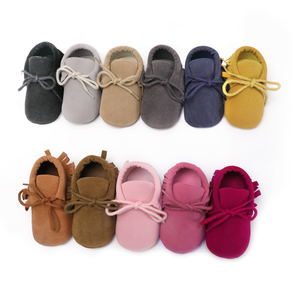 2018 First Walkers Baby Moccasins Unisex Flock Lace-Up Baby Shoes Newborn Boy Girl 11 Color Available Spring/Autumn Dropshopping