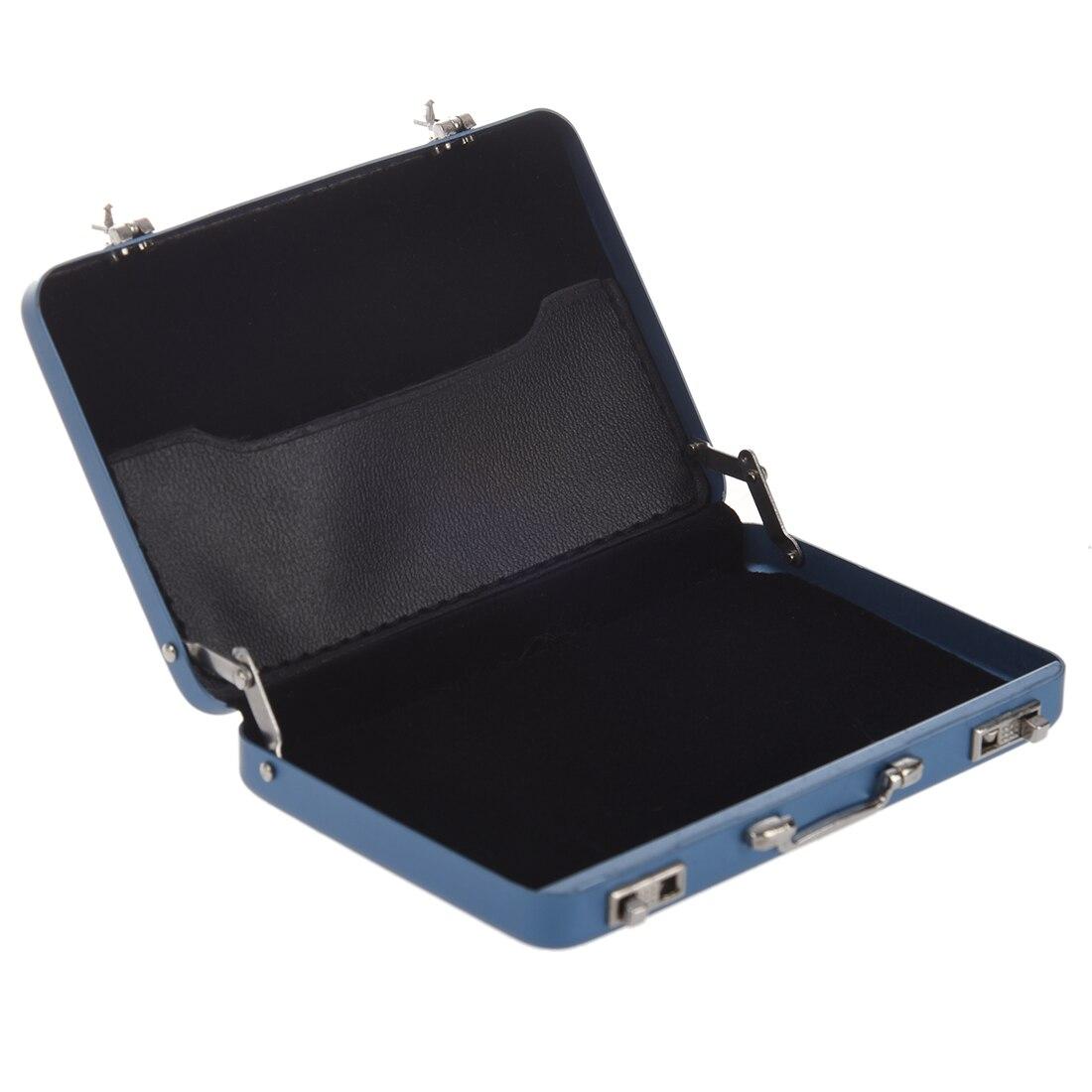 Nice Aluminum password box Card Case Mini suitcase Password briefcase  Blue